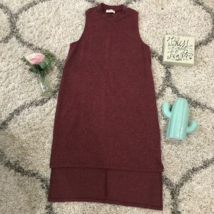 ANTHROPOLOGIE Everly wine color high neck dress